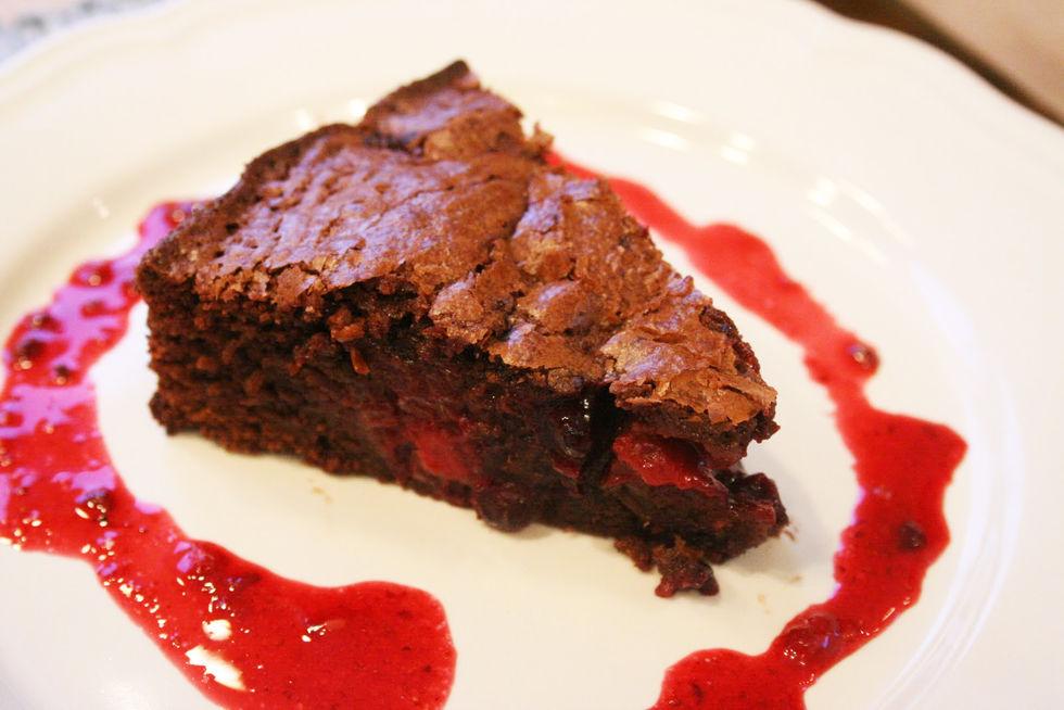 Brownie med bær – uten melk og gluten