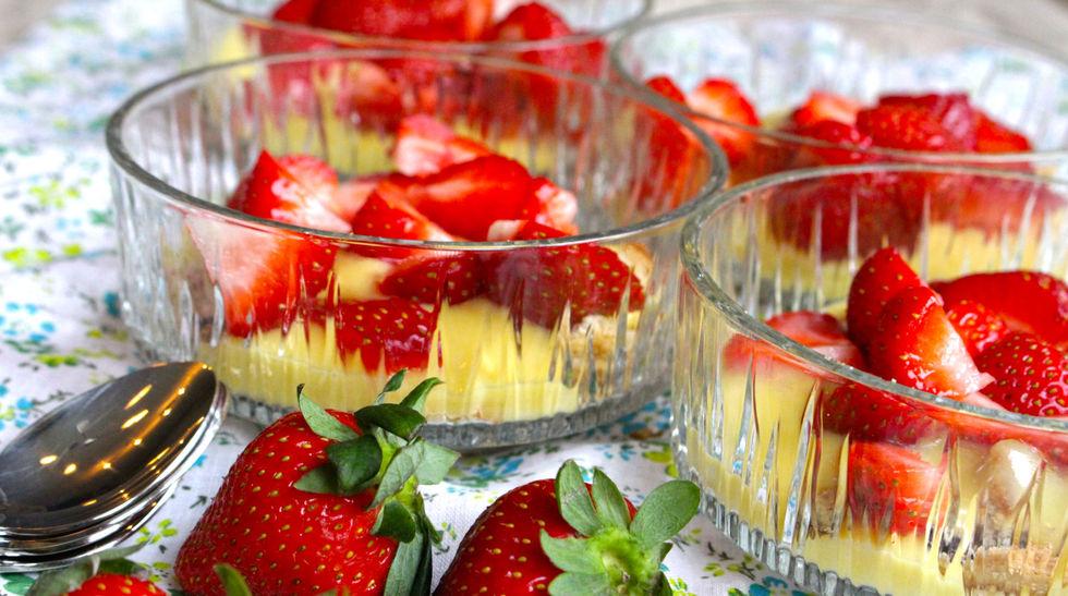 Gluten- og melkefri jordbærdessert