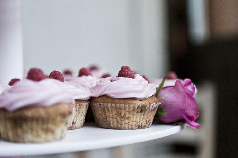 Bringebær-Cupcakes